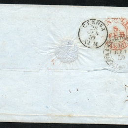 1859 Sardegna 10c. terra d'ombra chiaro+ 20c. azzurro grigiastro (N°14a+15A)