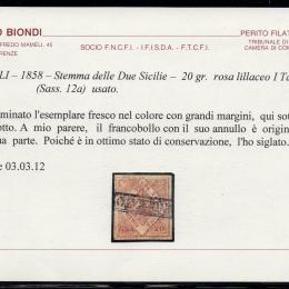 1858 Napoli 20gr. rosa lillaceo Ia tavola (N°12a).