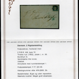 1851 Danimarca: 2sk. azzurro (N°1)