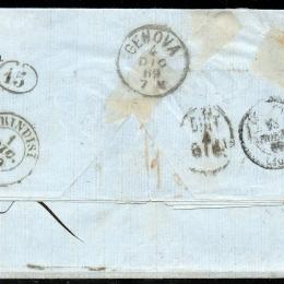 1862 Grecia: 5l. verde oliva + 20l. azzurro + 40l. lilla su azzurro (N°19b+21+22)