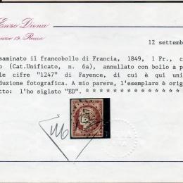 1849 Francia: Cerere 1Fr. carminio chiaro (N°6a)