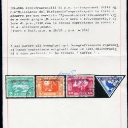 "1930 Islanda ""Servizi"": Parlamento soprastampati (N°44/58A)"