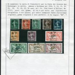 1916 Montenegro: emissione di Bordeaux del governo montenegrino in esilio (N°1/11)