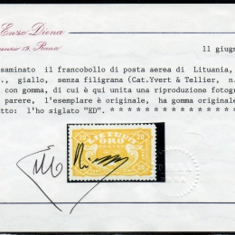 """1924 Lituania """"Posta Aerea"""": 20c. giallo (N°35A)"""