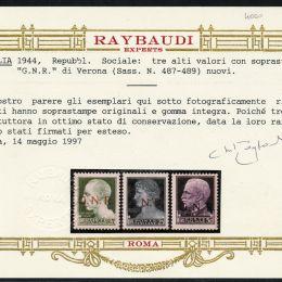 """1944 R.S.I.: soprastampati """"G.N.R."""" tiratura di Verona  (N°470/89) s. cpl."""