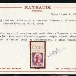 1944 R.S.I.: L. 50 violetto emissione di Firenze soprastampa carminio lillaceo (N°500/I) bordo di foglio in alto.