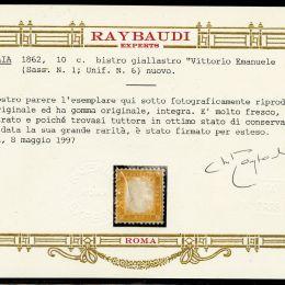 1862 Italia Regno: 10c. bistro giallastro (N°1).