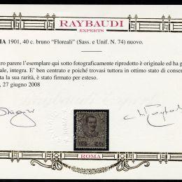 """1901 Italia Regno: 40c. bruno """"Floreale"""" (N°74) ben centrato."""