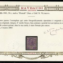 """1901 Italia Regno: 50c. malva """"Floreale"""" (N°76) molto fresco e ben centrato."""