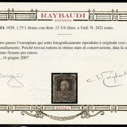 1929Italia Regno: L.1,75 bruno dentellato 13 ¾(N°242).